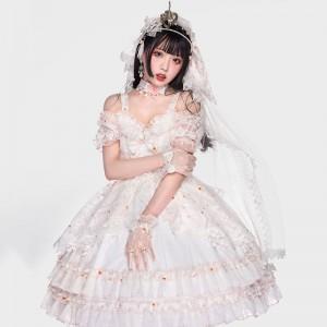 JSK ワンピース ロリィタ風 白色 ドレス ネックレス 髪飾り付 豪華セット
