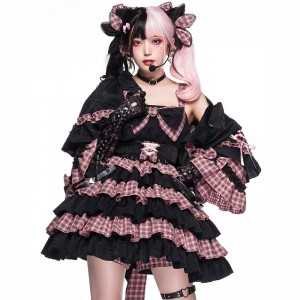 perro cat 舞踏会 JSK ドレス 日常用 ワンピース ブラック+ピンク